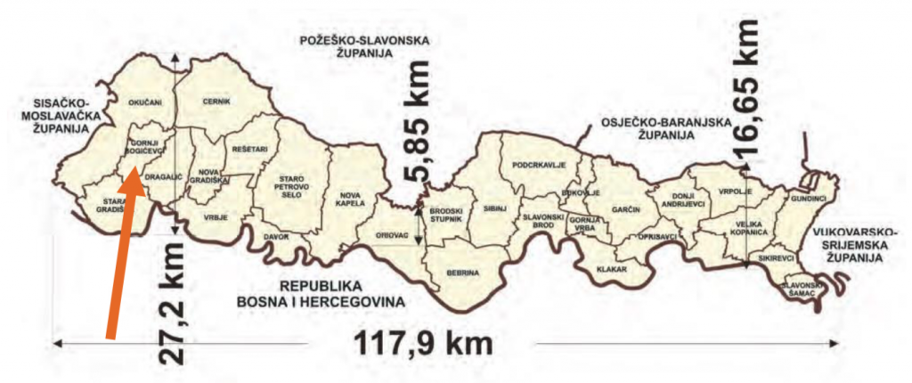 Brodsko-posavska županija i položaj Općine Gornji Bogićevci